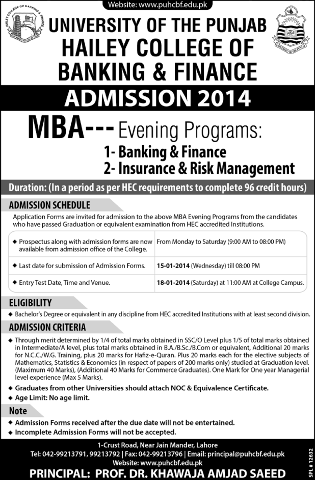 Hailey College of Banking And Finance MBA Evening Admission 2014