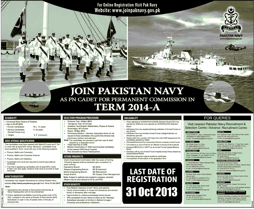 Join Pak Navy as PN Cadet Term 2014 B Permanent Commission Online
