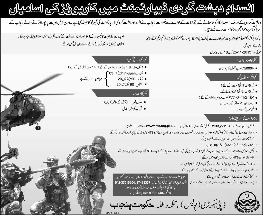 Anti Terrorist Force Jobs 2013 Online Form, Registration