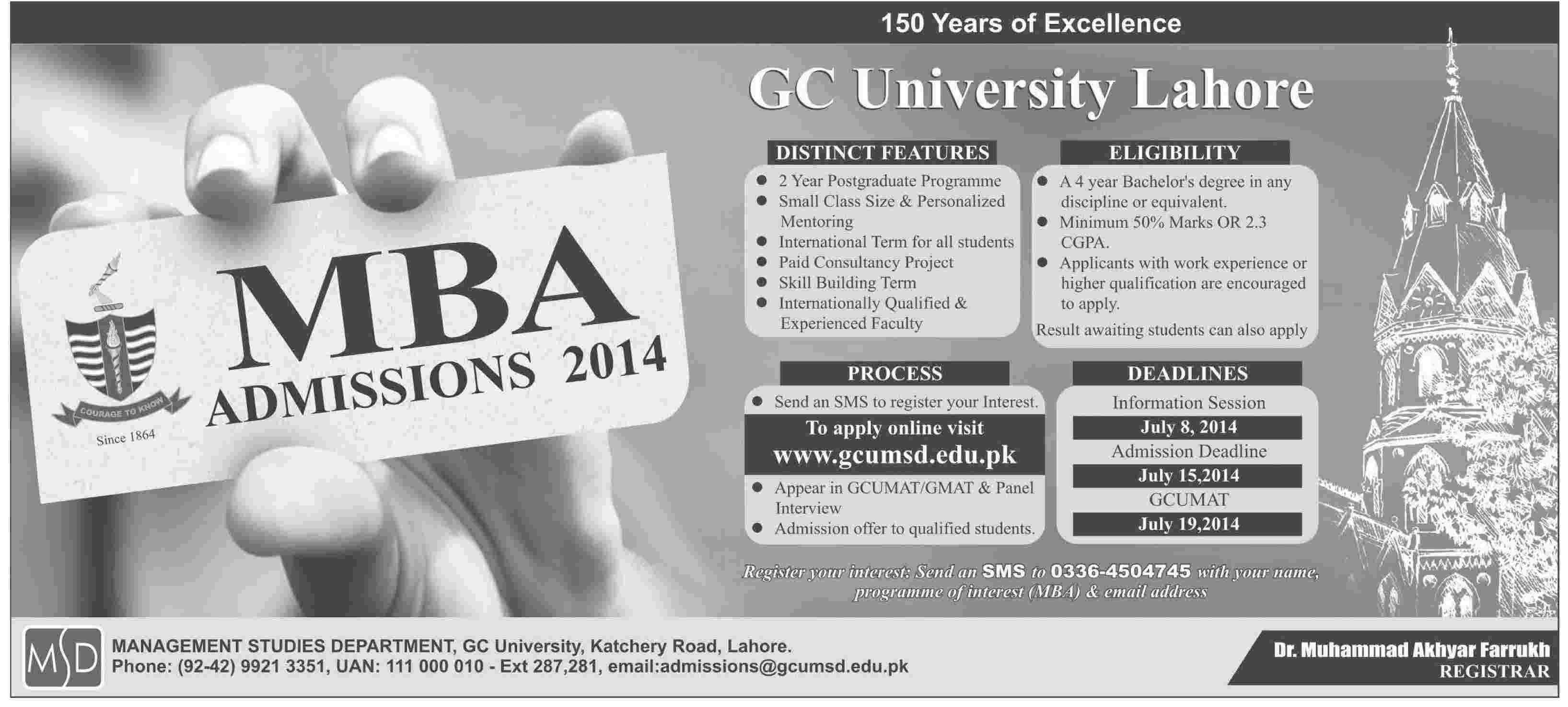 GC University MBA Admission 2014 Eligibility, Requirement, Schedule