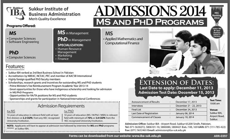 IBA Sukkur MS, PhD Admissions 2014 Entry Test Result, Merit List