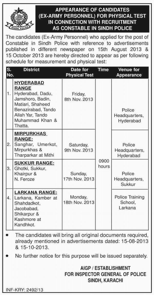 Sindh Police Constable Jobs Physical Test Schedule in November 2013