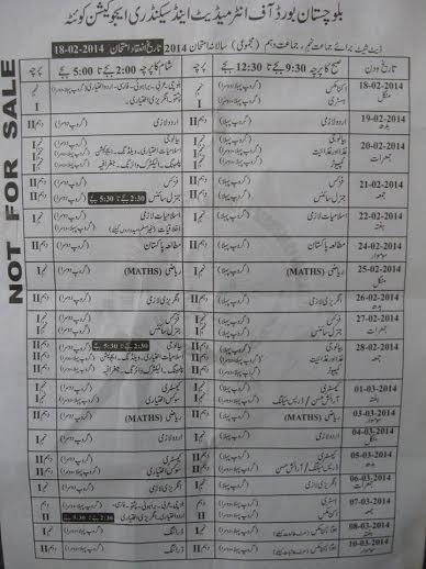 Balochistan Board 9th, 10th Matric Class Date Sheet 2014