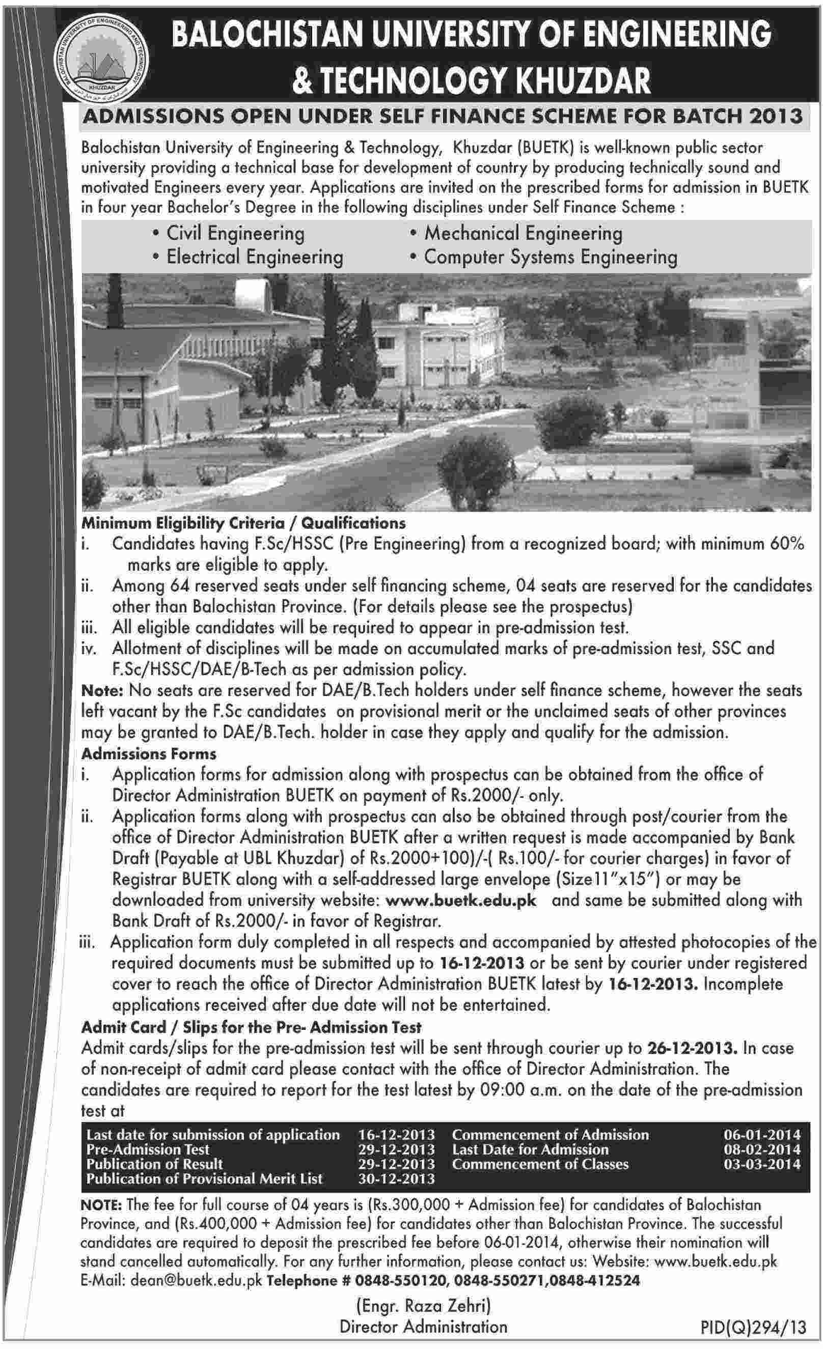 Balochistan University of Engineering BUET Khuzdar Admission 2013