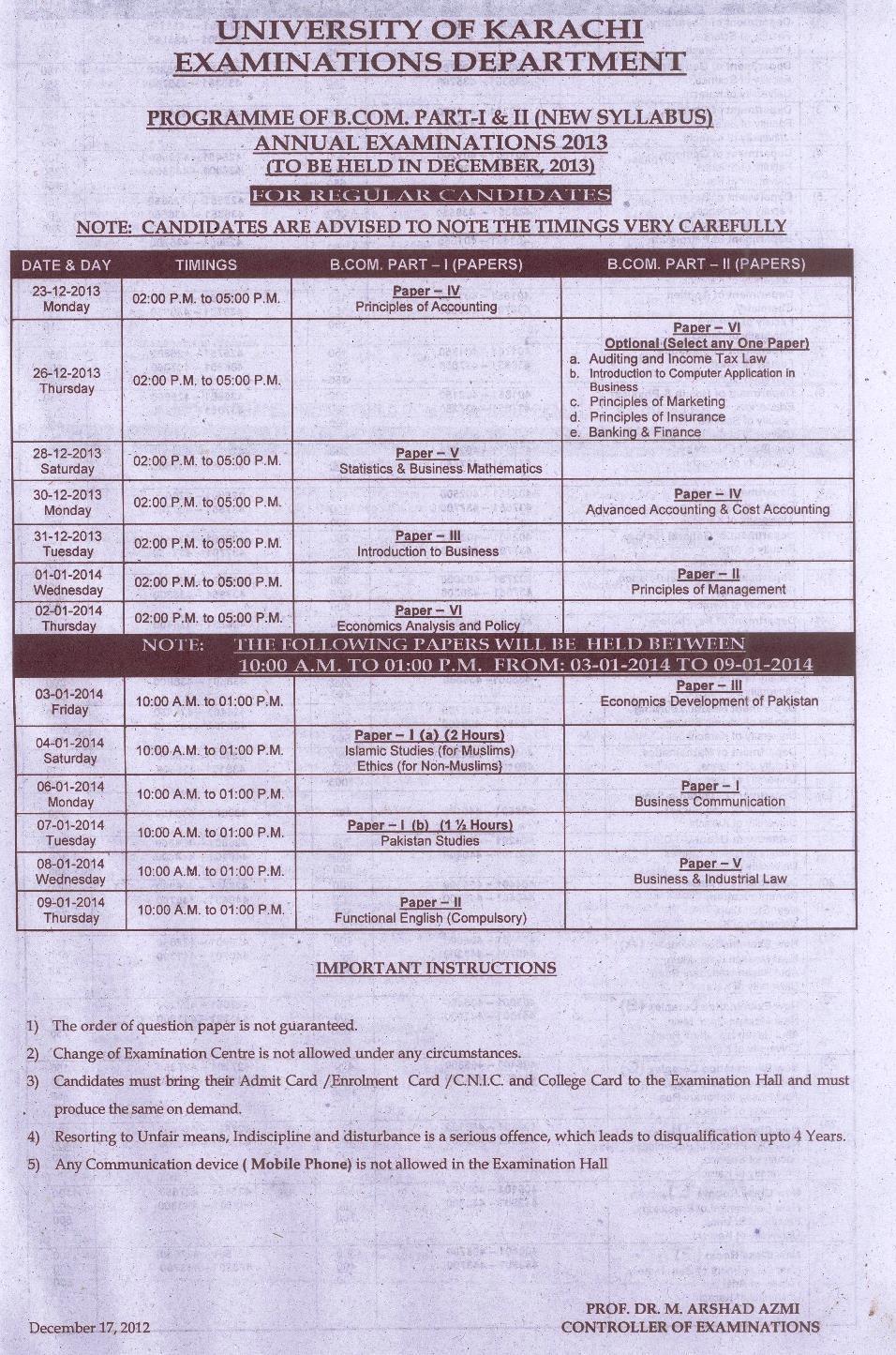 Karachi University UOK B.Com Date Sheet 2014