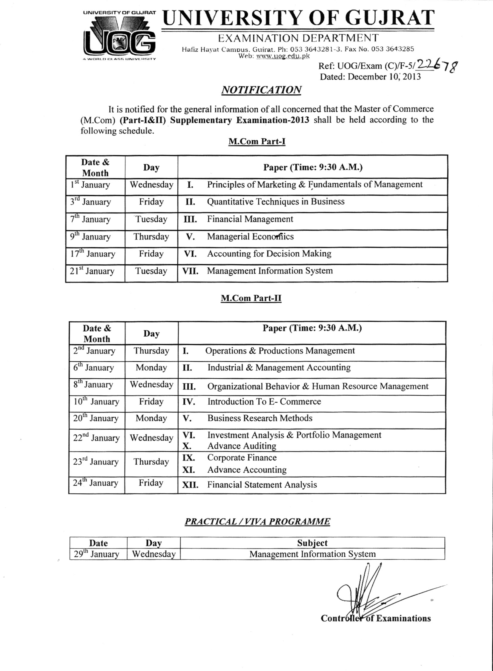 University of Gujrat UOG M.Com Supplementary Date Sheet 2013