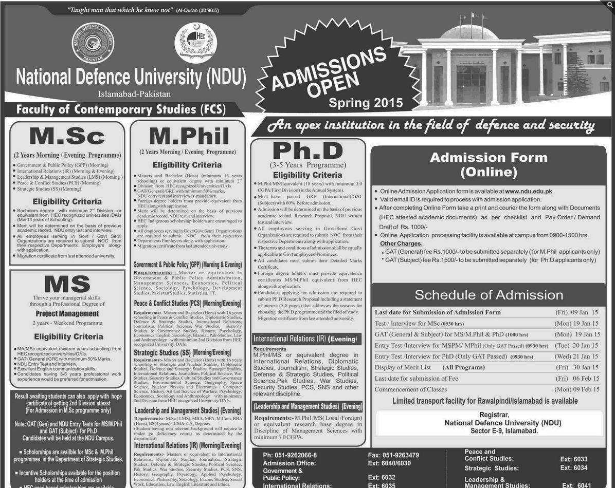 National Defence University NDU Islamabad Spring Admission 2015