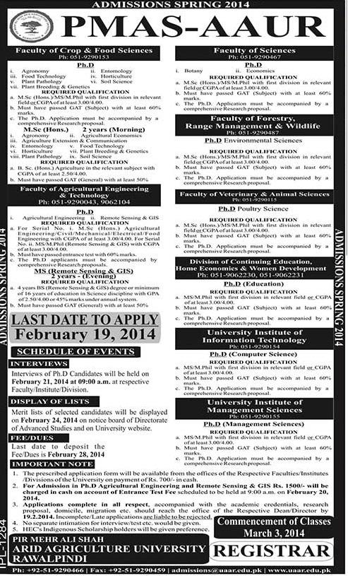 PMAS Arid Agriculture University Rawalpindi Admission 2014
