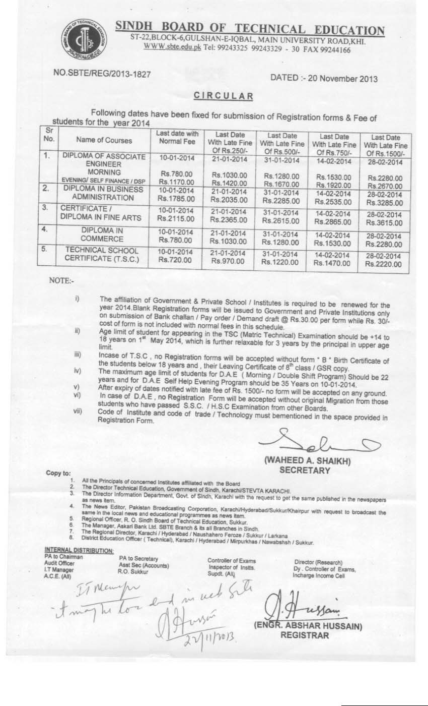 Sindh Technical Board SBTE DAE, DBA, DCOM Form Submission Schedule 2014