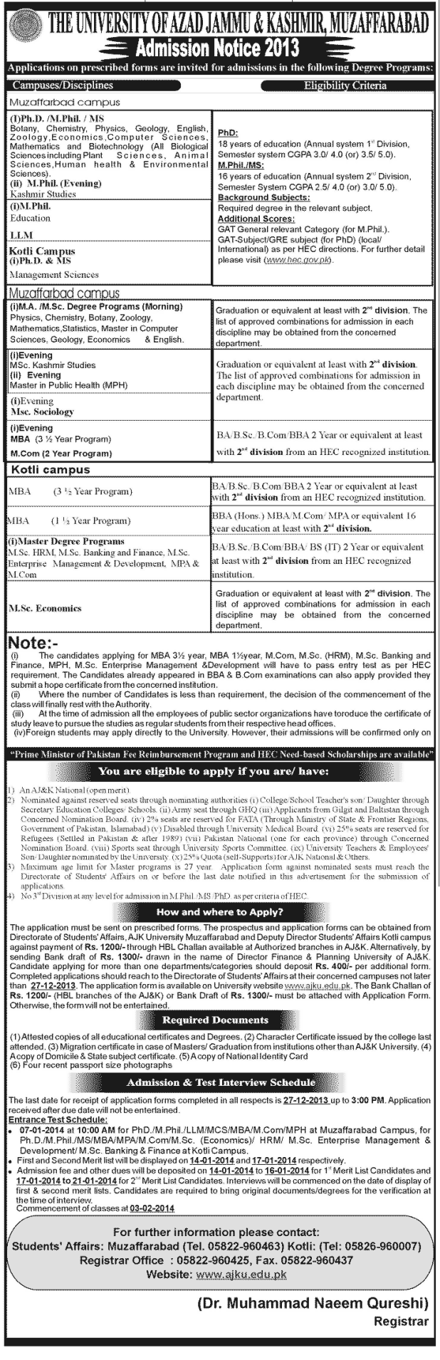 University of AZAD JAMMU and Kashmir AJKU Admissions 2013-2014