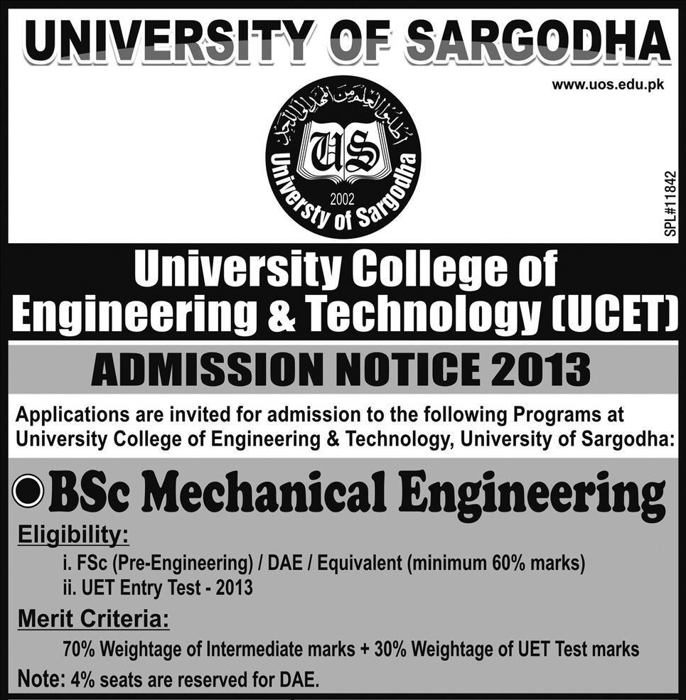 University of Sargodha UOS Engineering Admissions 2013, Merit List