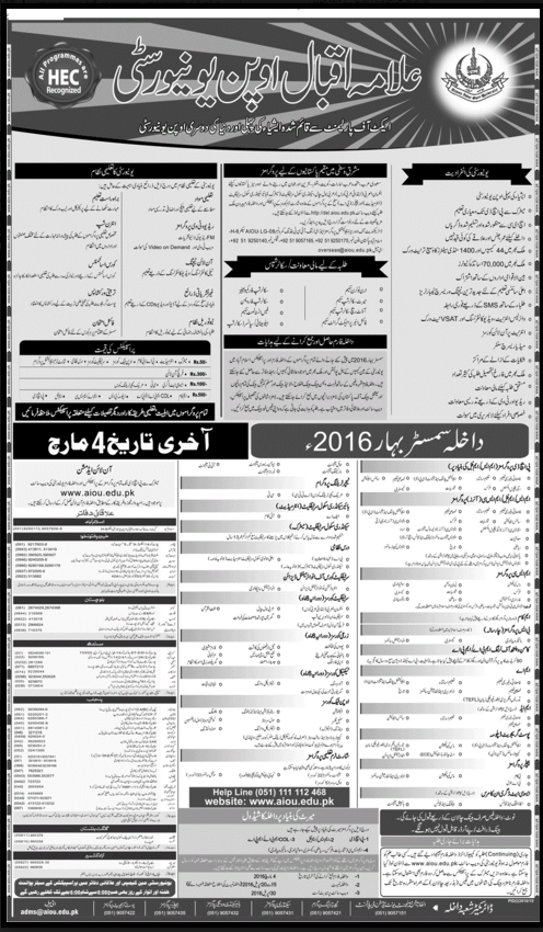Allama Iqbal Open University Islamabad Spring Admission 2016