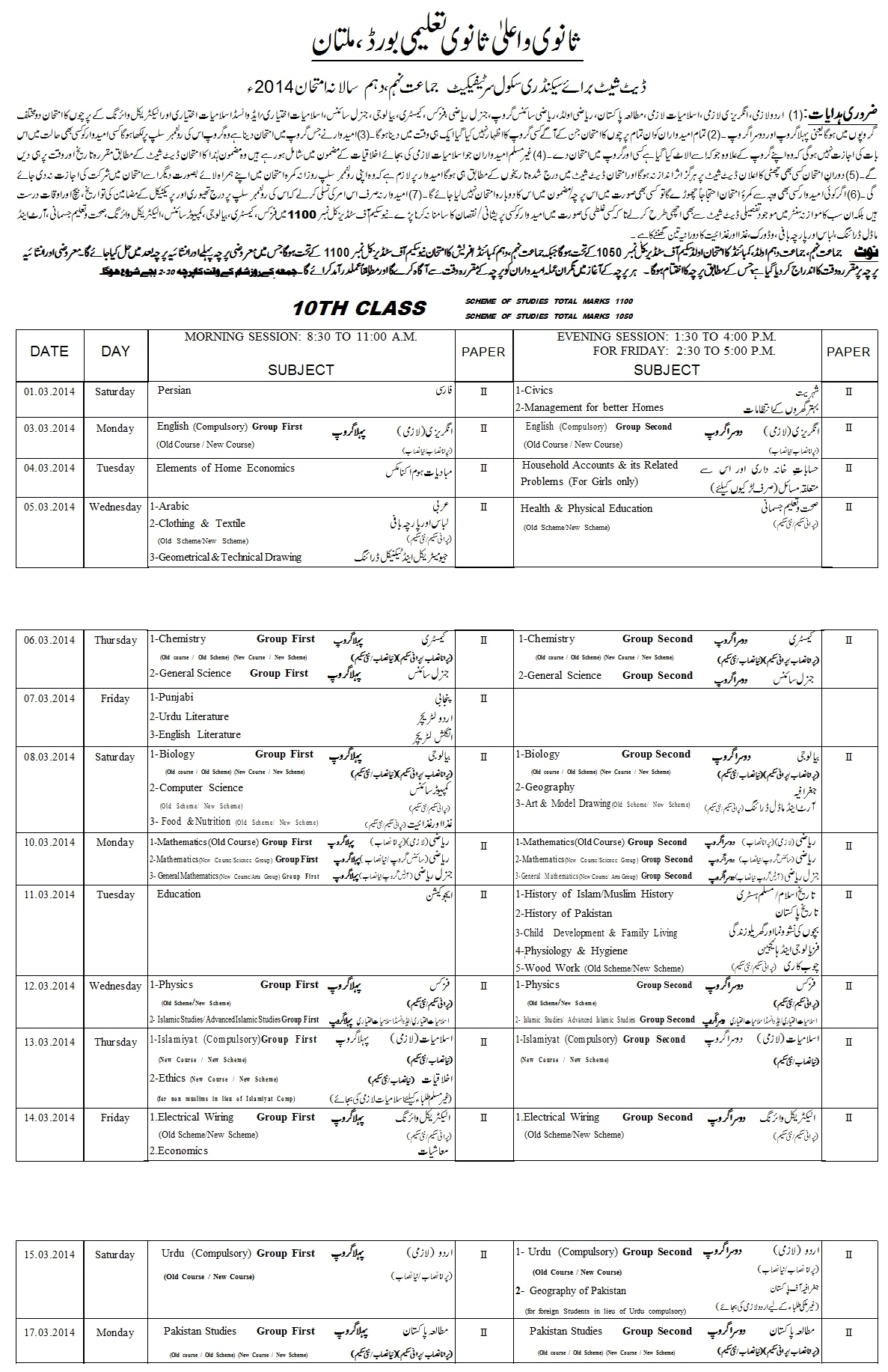 BISE Multan Board Matric 10th Class Date Sheet