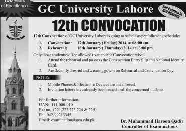 GC University Lahore 12th Convocation 2014