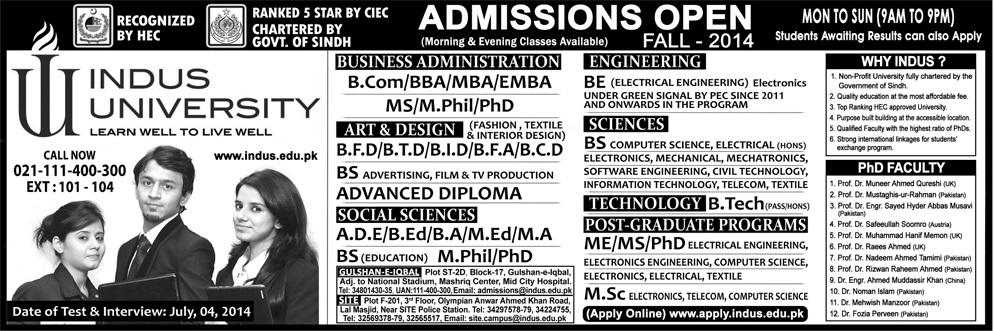 Indus University Karachi Admission 2014 Form, Criteria