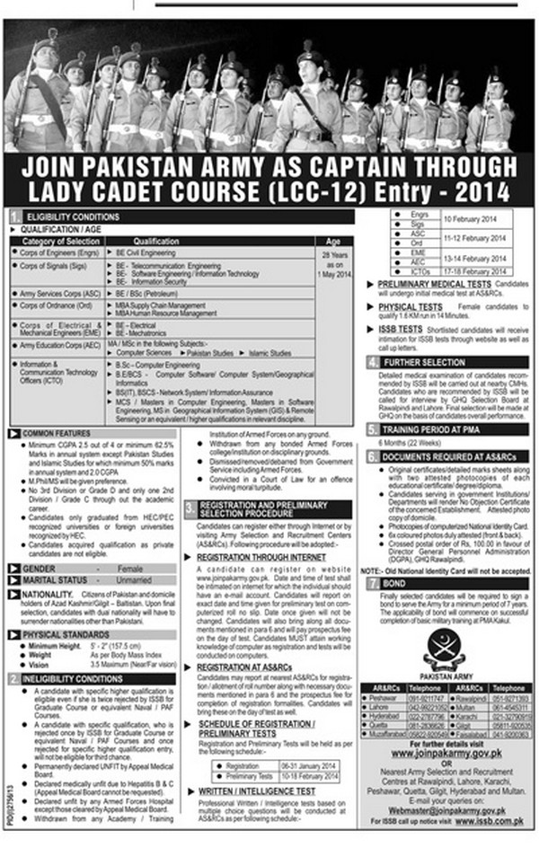 pakistan army jobs as captain 2018 through lady cadet