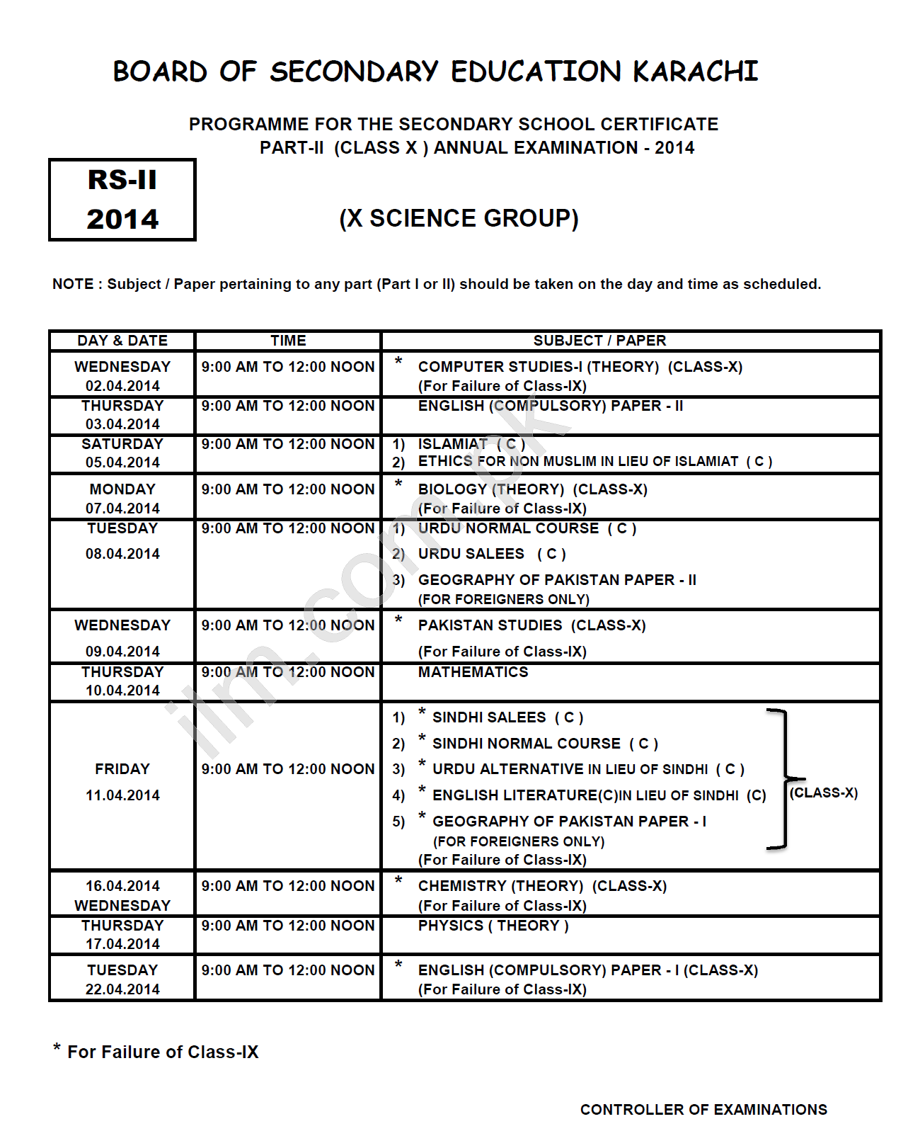 Karachi Board Matric 10th Class Science Group Date Sheet 2014