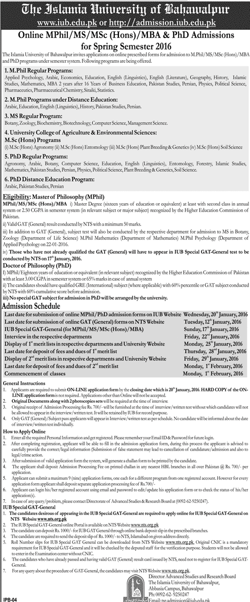 The Islamia University of Bahawalpur IUB MPhil, MS, PhD Admissions 2016