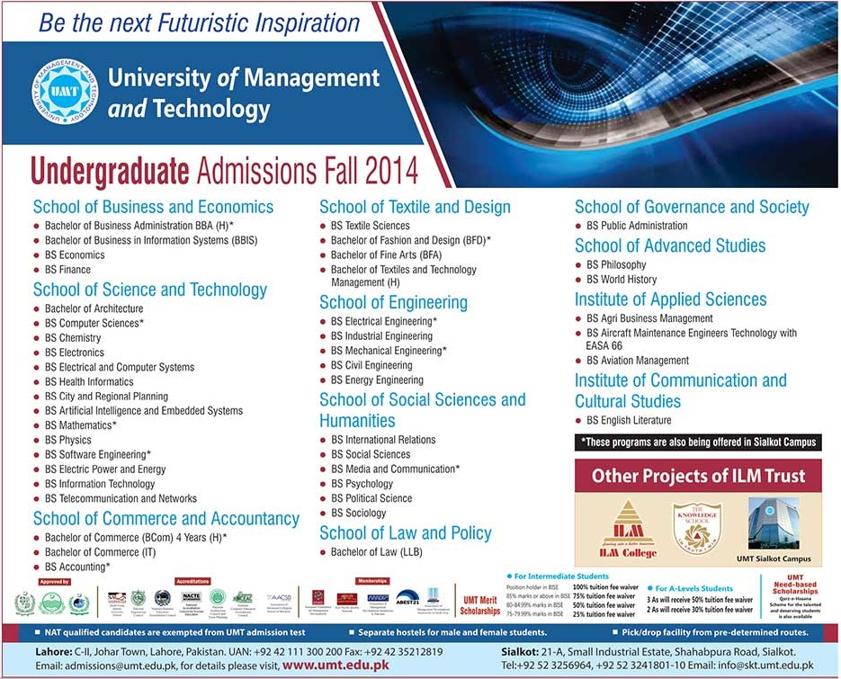 University of Management and Technology UMT Admissions 2014