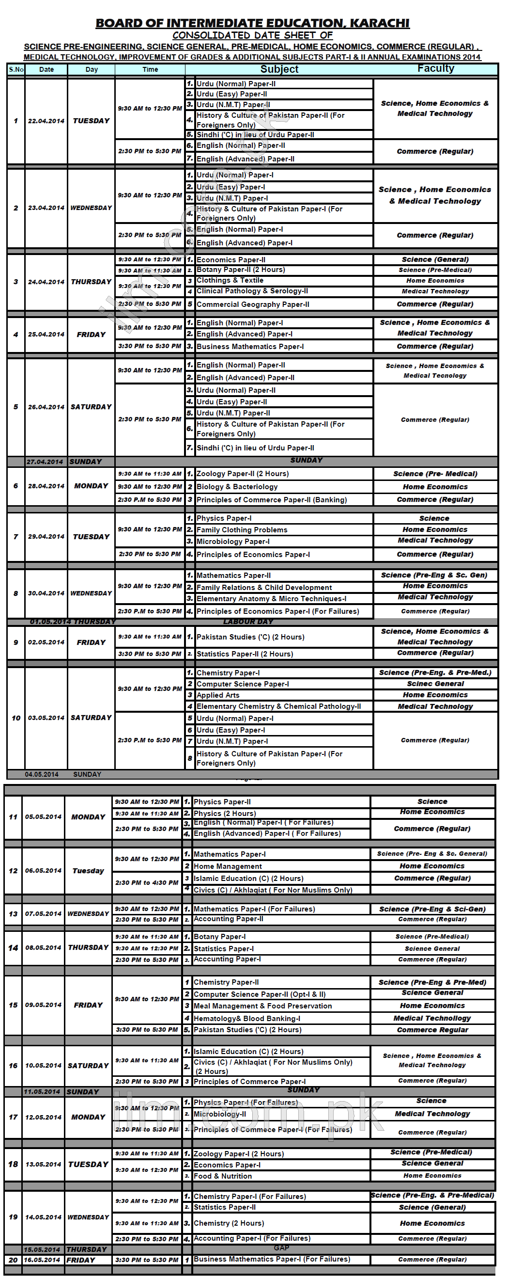 BIEK Karachi Board Inter Part 1, 2 Date Sheet 2014