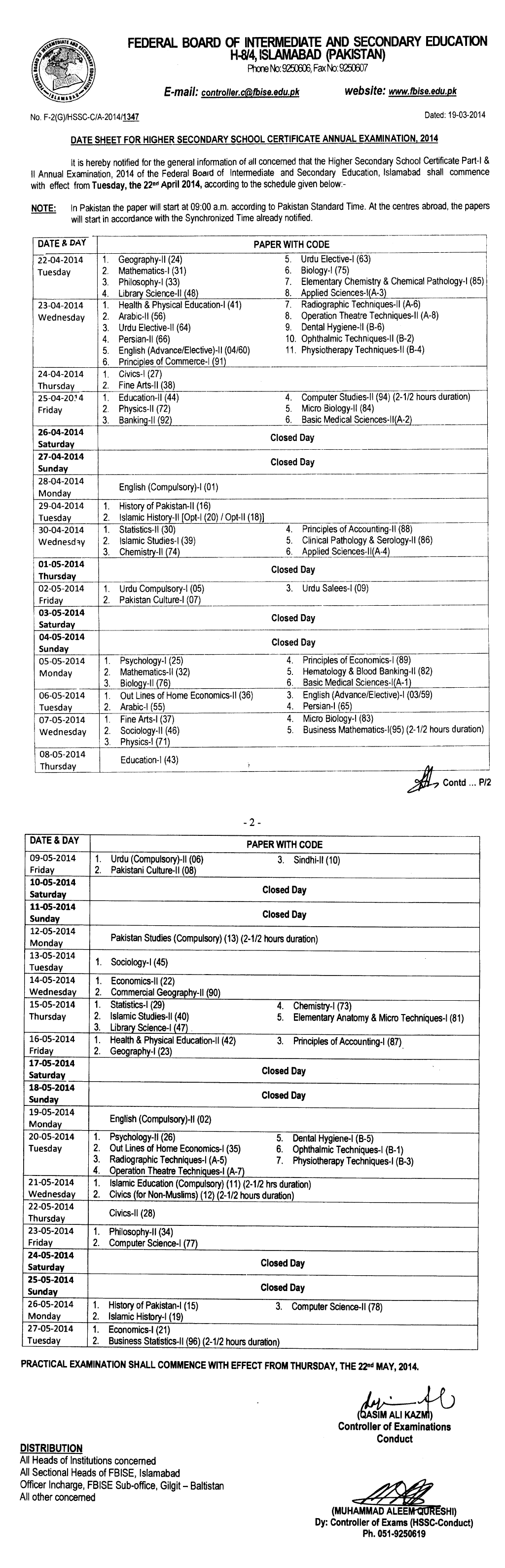 Federal Board Inter Part 1, 2 FA, FSC Date Sheet 2014