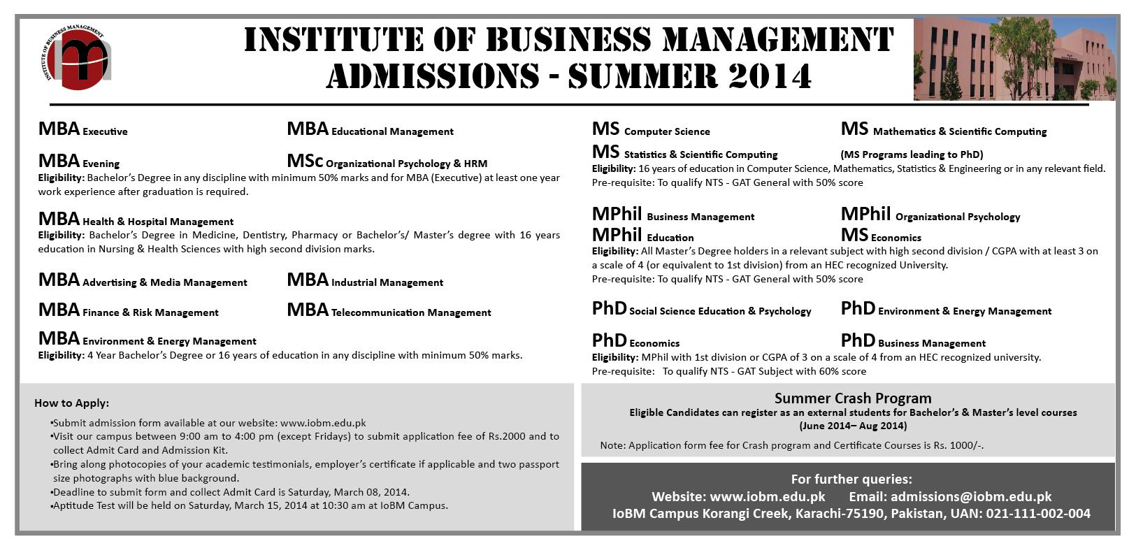 Institute Of Business Management Karachi Admission 2014