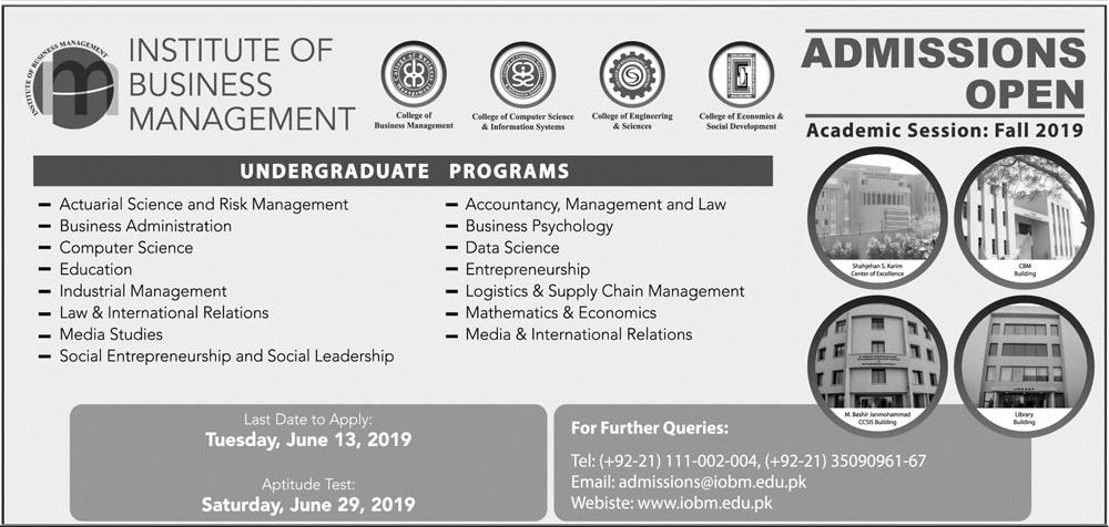 Institute of Business Management IOBM Admission 2019 Form