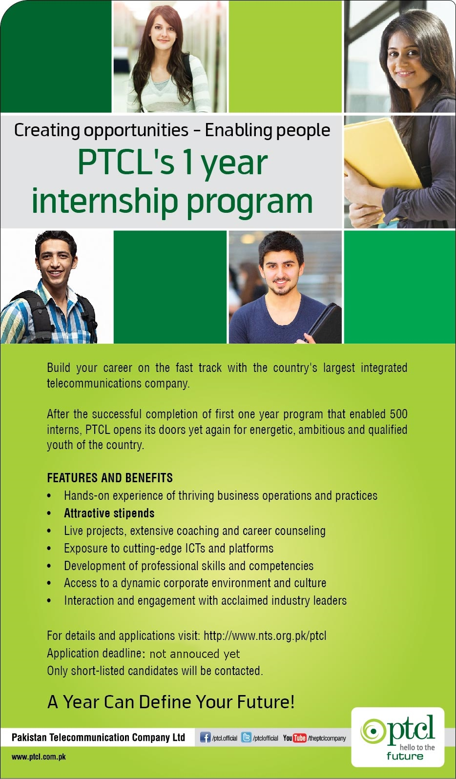 PTCL One Year Paid Internship Program 2014