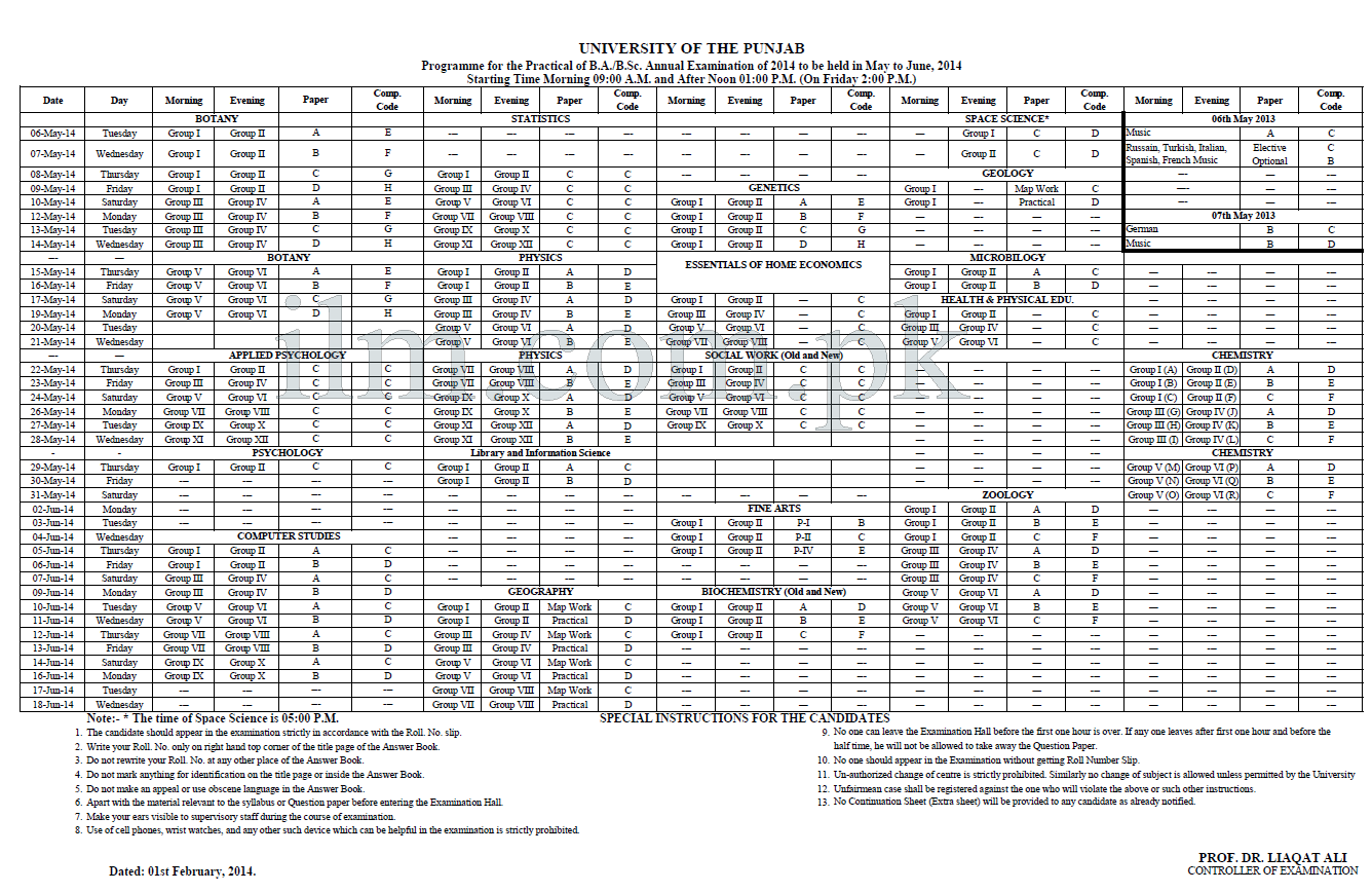 PU BA, BSc Practical Date Sheet 2014