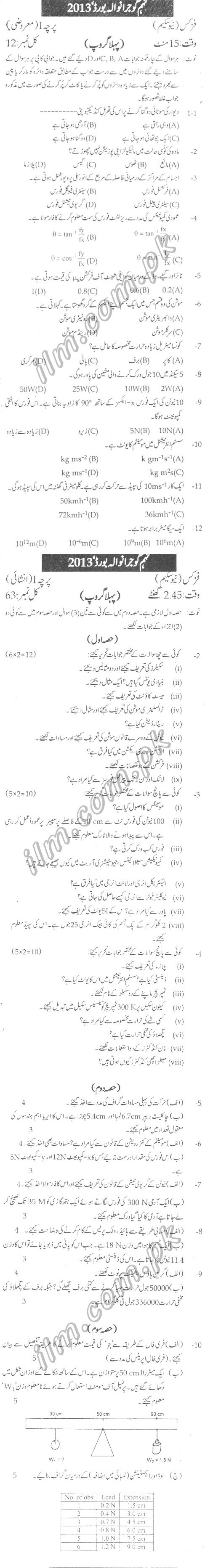 Gujranwala Board 9th Class Physics Past Papers 2013