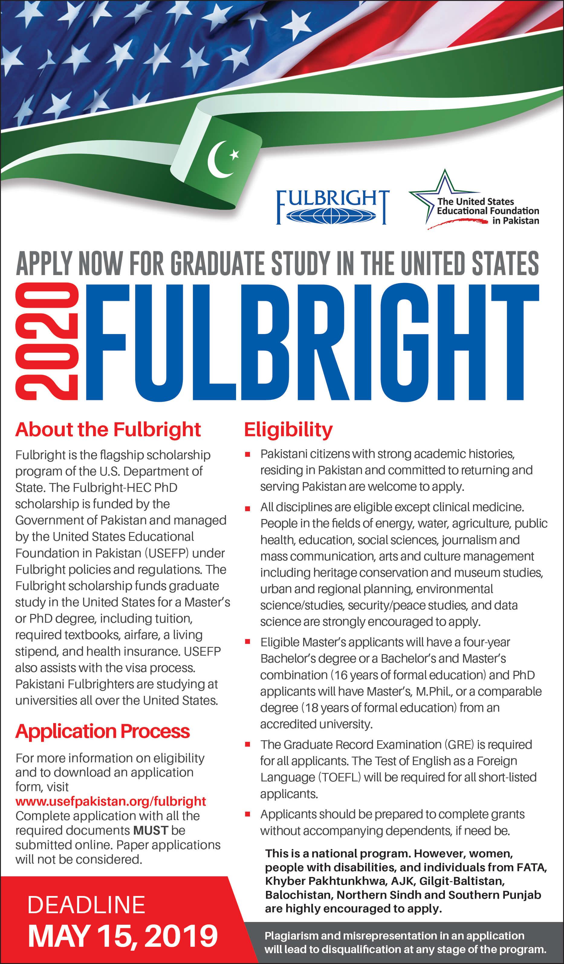 USEFP Fulbright Scholarship 2019 Pakistan Application Form