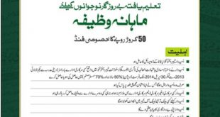 KPK Educated Youth Unemployment Monthly Scholarship 2014 application form