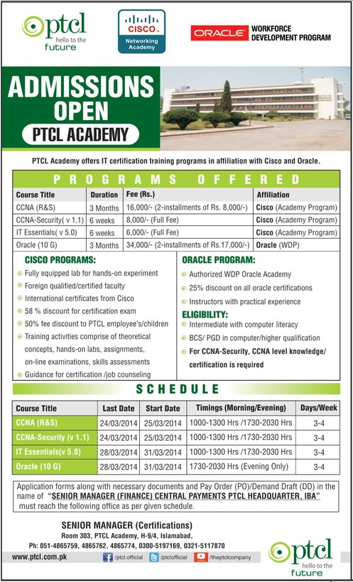 PTCL Academy IT Certification CCNA, CISCO, Oracle Admission 2014