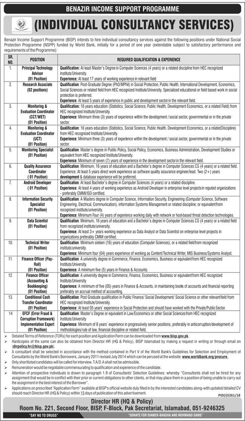 Benazir Income Support Programme BISP Jobs 2019 Application Form