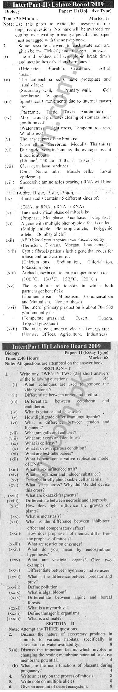 Lahore Board Inter Part 2 Biology Past Papers 2009