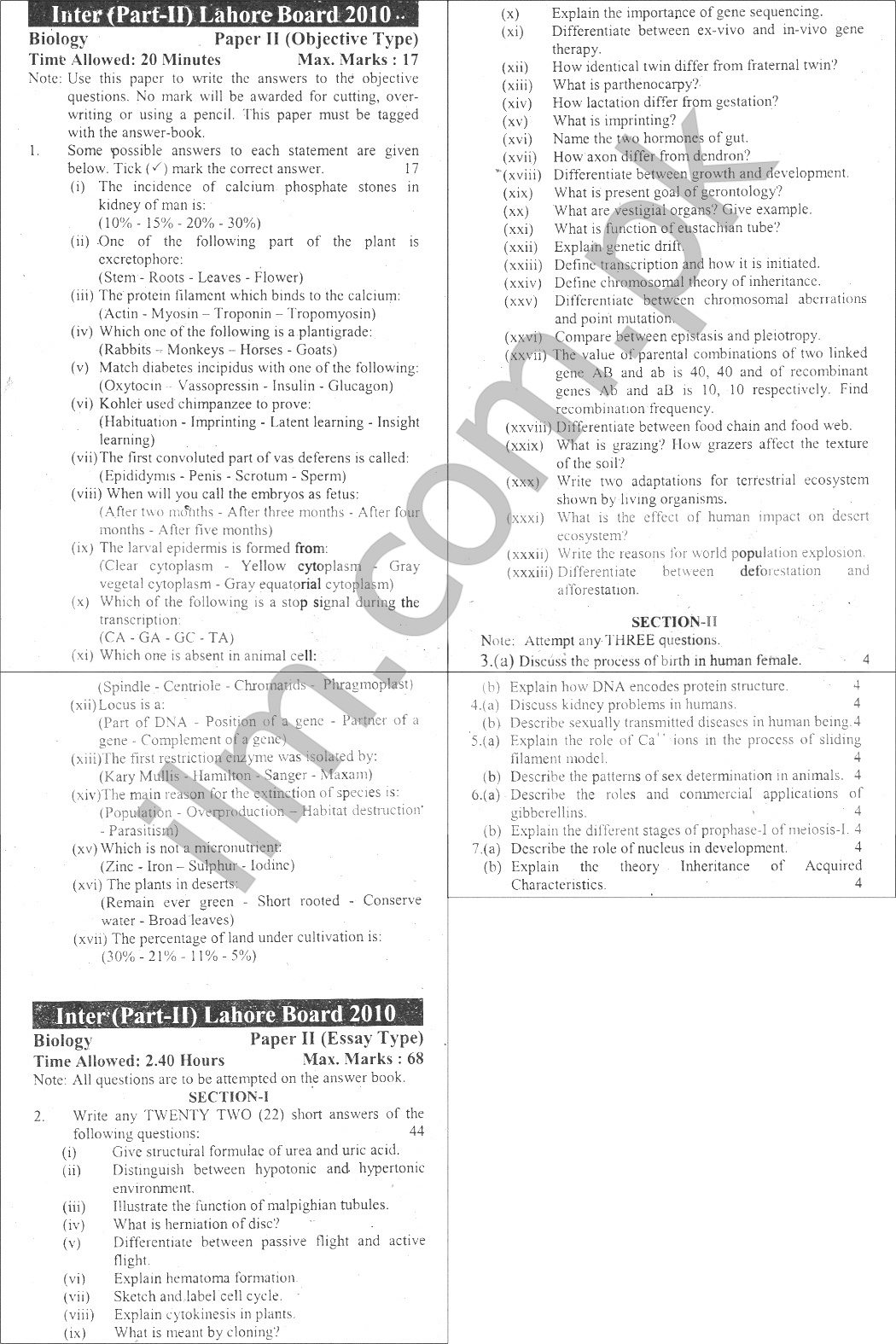 Lahore Board Inter Part 2 Biology Past Papers 2010