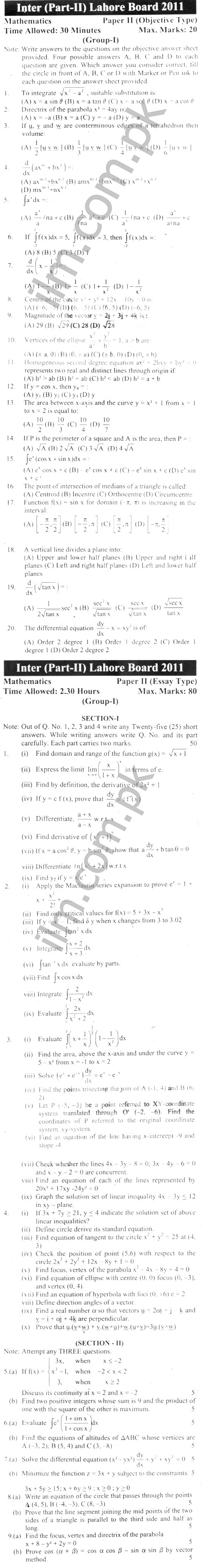 Lahore Board Inter Part 2 Math Past Papers 2011