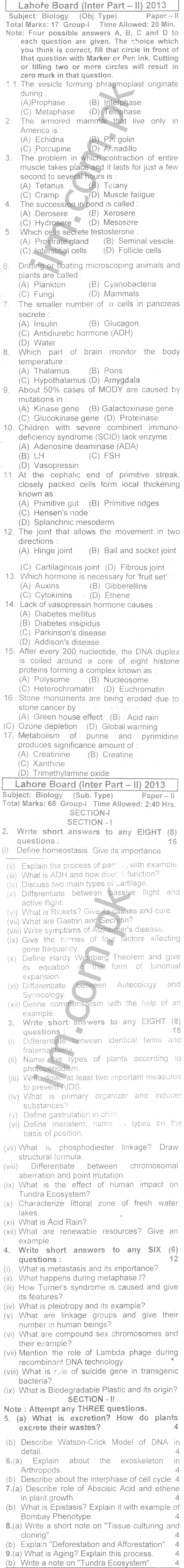 Lahore Board Inter Part 2 Biology Past Papers 2013