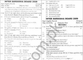 Sargodha Board Inter Part 2 English Past Papers 2009