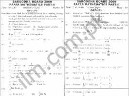 Sargodha Board Inter Part 2 Math Past Papers 2009