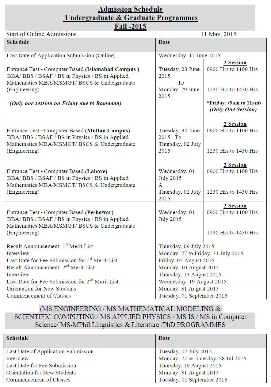 Air University Islamabad Fall Admission Schedule 2015