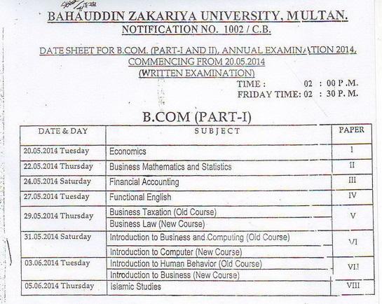 BZU B.Com Part 1 Date Sheet 2014