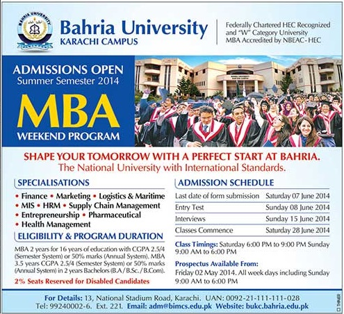 Bahria University Karachi MBA Weekend program Admission