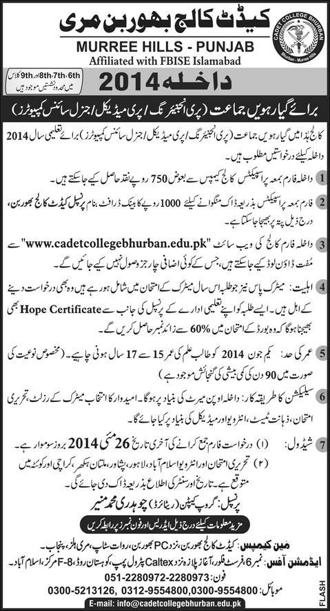 Cadet College Bhurban Admission Form Download Online