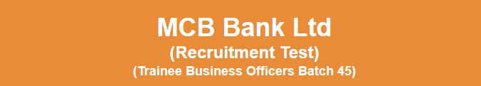 MCB Bank TBO NTS Test Answer Keys and Test Result 2014