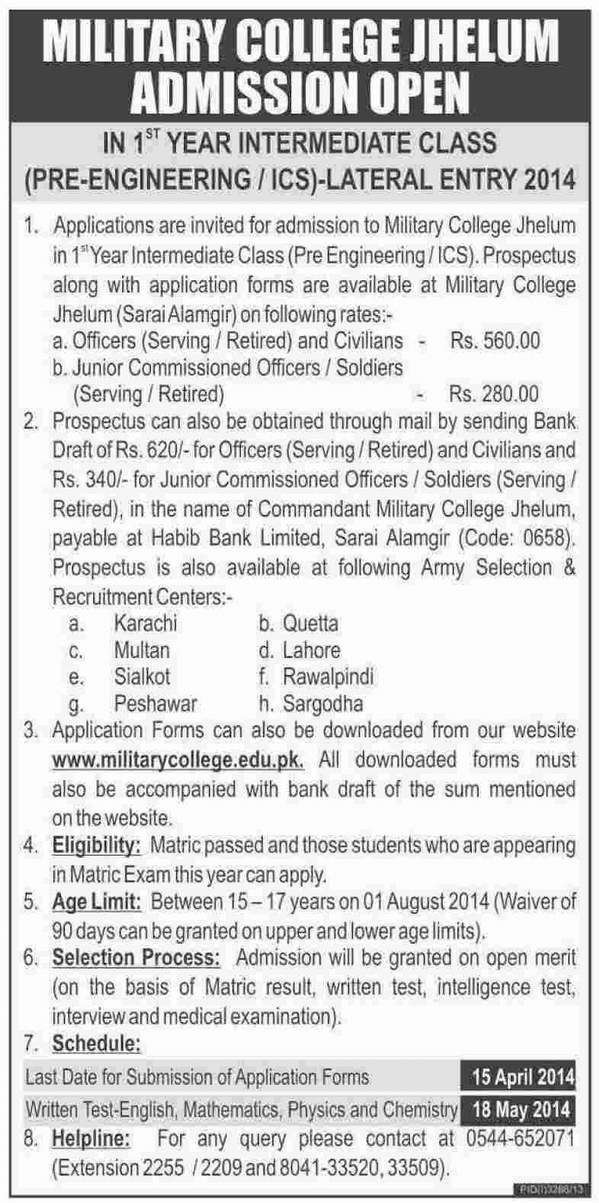 Military College Murree Admissions 2014 2013 14