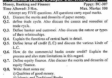 Money Banking and Finance B.Com Part 1 Past Papers 2013 PU