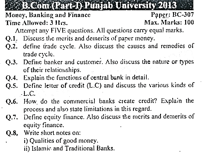 PU B.Com Part 1 Money Banking and Finance Past Paper 2013