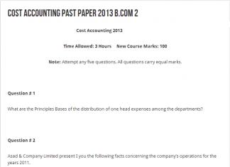 Punjab University B.Com Cost Accounting Past Paper 2013