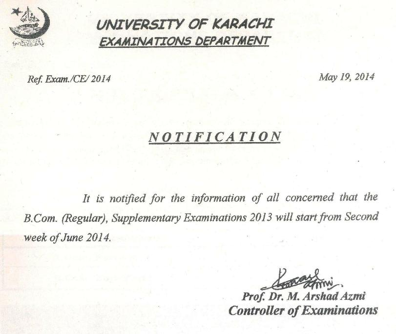 UOK B.Com Supplementary Exams Date Sheet 2013